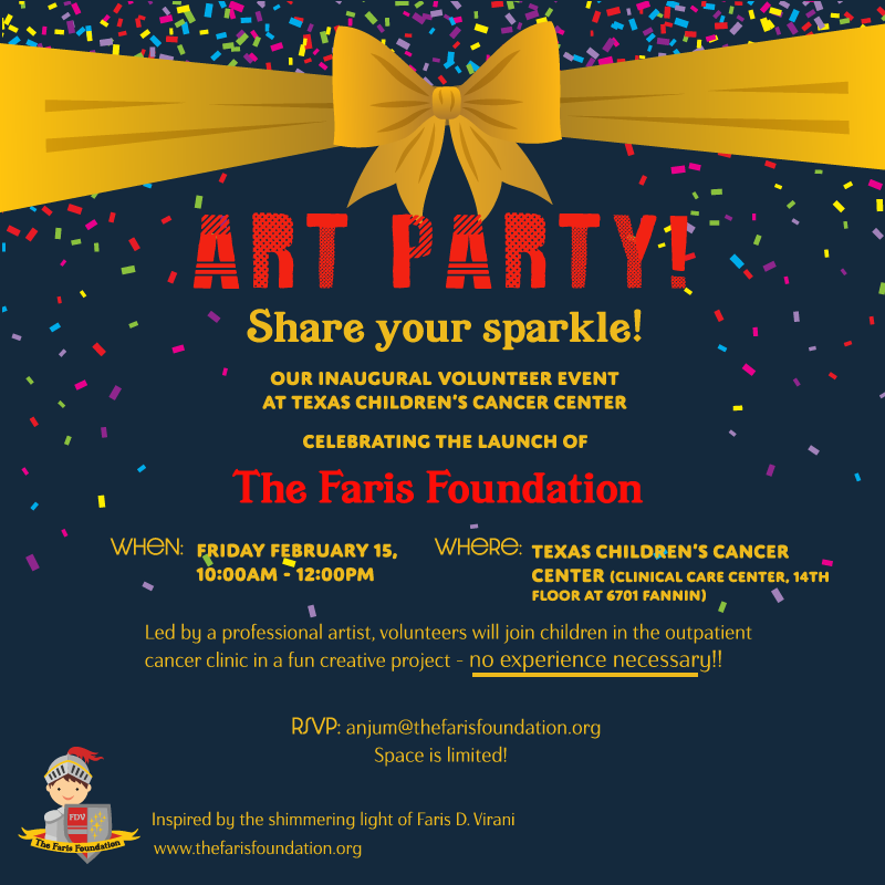 Share Your Sparkle Art Party at Texas Children's Cancer Center Volunteer Event